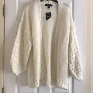 Forever 21 Chunky Knit Cardigan Large in Ivory